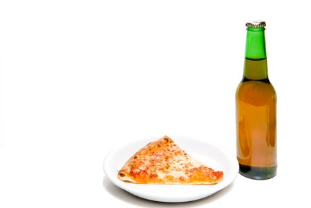 near beer: A slice of pizza and an ice cold beer. Stock Photo