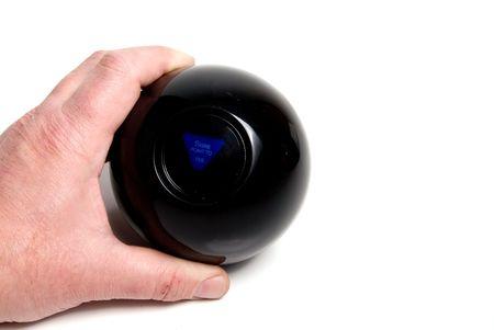 8 ball billiards: A person using a magic ball to predict the future.