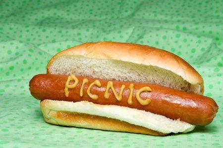 A traditional all beef or pork hotdog.