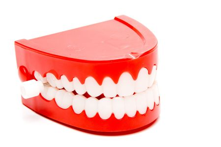 fake smile: A set of the ever popular and highly amusing chattering teeth. Stock Photo