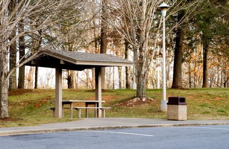 A picnic area at a highway rest stop. Stok Fotoğraf