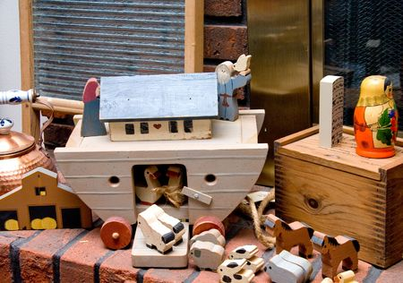 Noahs Ark Toys on a fireplace hearth. Stock Photo - 4135231