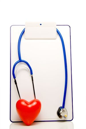 A medical chart, stethoscope and heart shape. Stock Photo - 4220012