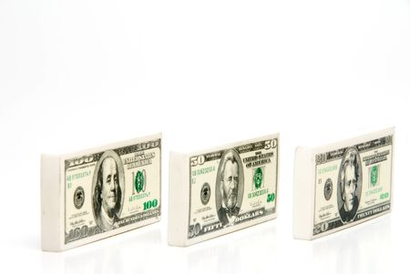 20, 50 and 100 dollar Money Pencil Erasers Stock Photo - 4367316