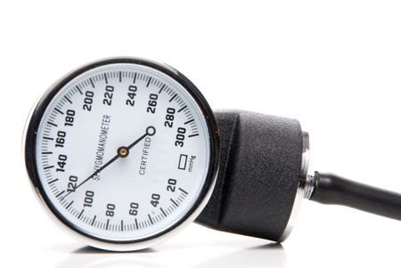 sphygmonanometer: A professional blood pressure tool known as a Sphygmomanometer. Stock Photo