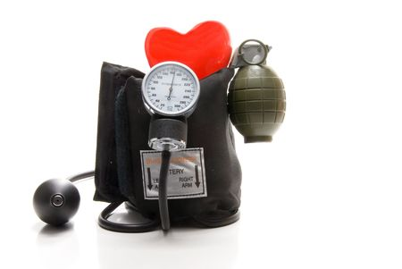 The concept of high blood pressure causing heart disease. photo