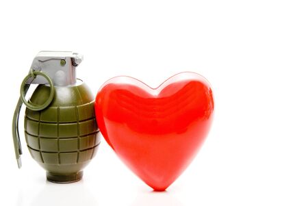 The concept of cardiovascular disease with a heart and grenade.