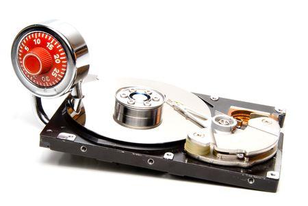 A combination padlock and a computer hard drive. Stock Photo - 4386250