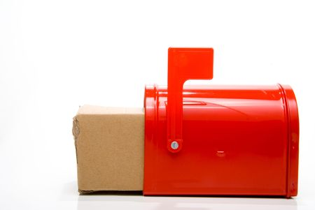 A parcel package box in a mailbox. photo