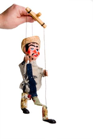 A handmade custom Mexican style marionette puppet.