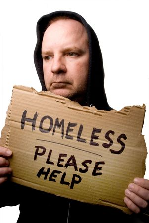 A homeless man begging for some help.