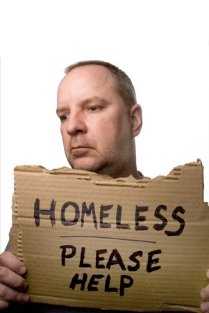 destitute: A homeless man begging for some help.