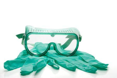 個人用保護具 - ラテックス フリーの手袋と安全メガネ 写真素材