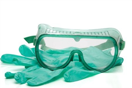 safety gloves: Personal protective equipment - safety glasses and latex free gloves