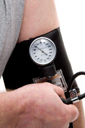 sphygmonanometer: A professional blood pressure tool known as a Sphygmomanometer. Stock Photo