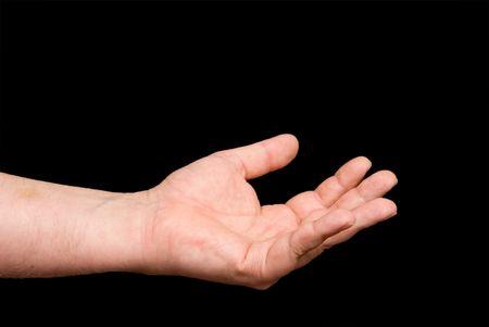 Un outstetched aperto e il braccio e mano umana.