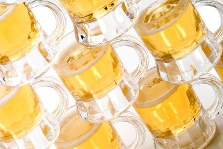 A set of full beer mugs at a pub. Stock Photo - 4653690