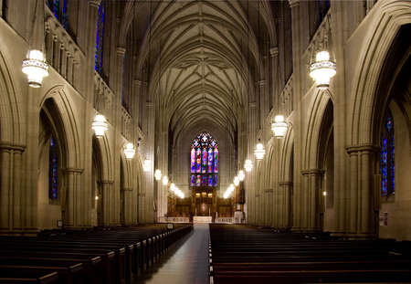 The inside of a large medieval cathedral.