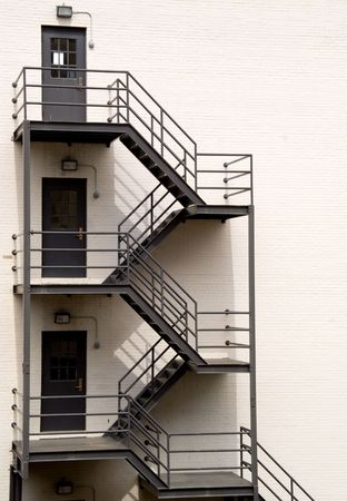 A Fire Escape on the side of a building. Stock Photo - 4747964