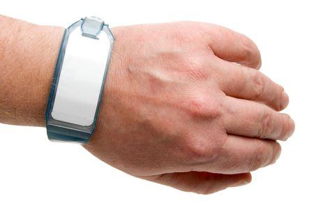 wrist: A brand new hospital patient ID bracelet.