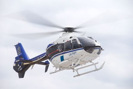 A mobile flying ambulance better known as a life flight. photo