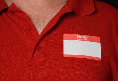 nametag: A blank generic name tag that says nothing.