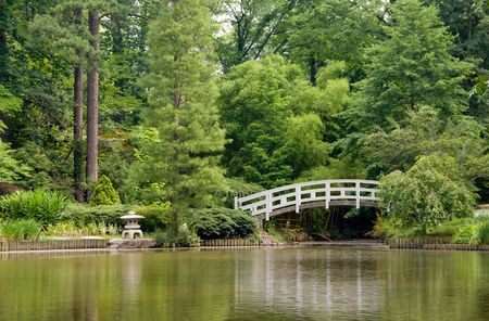 A Japanese style Arched Bridge in a botanical garden. Stock Photo - 5106180