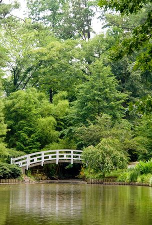 A Japanese style Arched Bridge in a botanical garden. Stock Photo - 5106185