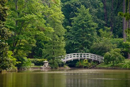 A Japanese style Arched Bridge in a botanical garden. Stock Photo - 5106172