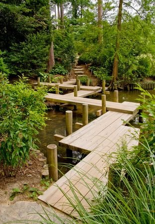shui: A Japanese Zig-Zag Bridge that legend says will fool bad spirits. Stock Photo