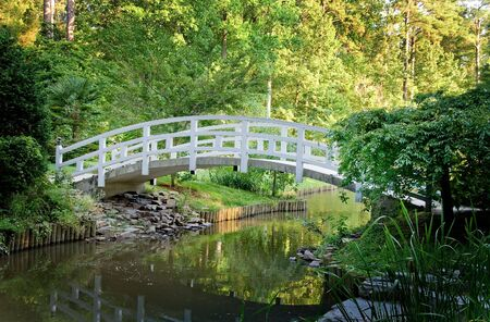 An Arched Wooden Bridge in a botanical garden. Stock Photo - 5125700