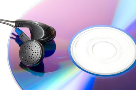 A pair of headphones and a compact disc.