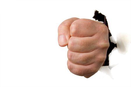 A human fist punching through a wall. Stock Photo - 5285267