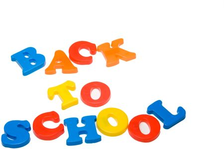 Plastic letters that spell out Back to School. Stock Photo
