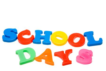 Magnetic letters that spell out the words School Days. photo