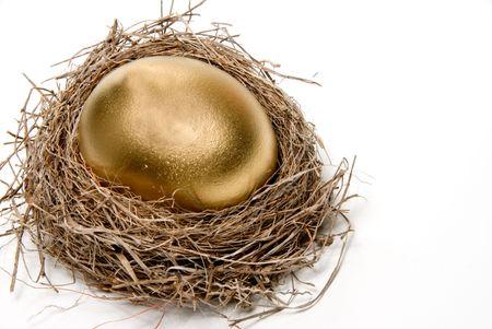 golden egg: A golden egg from the golden goose. Stock Photo