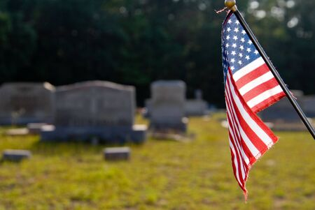 national military cemetery: A flag at a grave in a cemetary.