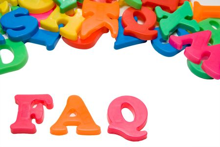 Magnetic letters spelling out the word FAQ. Stock Photo - 5348709