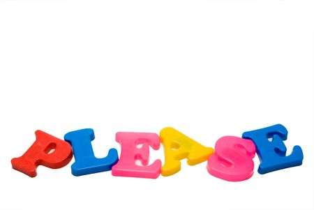 The word Please written with magnetic letters. photo