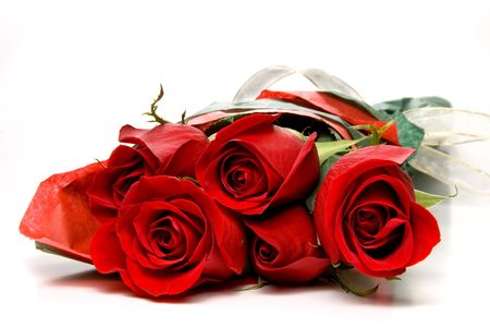 get well: A lovely gift bouquet of red roses. Stock Photo
