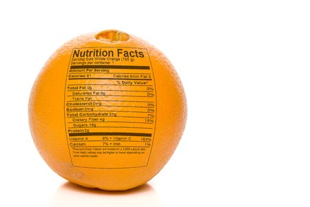 nutrition label: Nutrition Facts printed on an delicious orange.