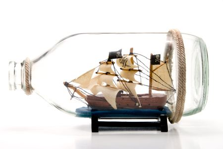 A Pirate Ship in a glass Bottle Zdjęcie Seryjne