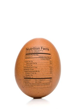 label: Egg Nutrition Facts printed on the outside of a brown egg.