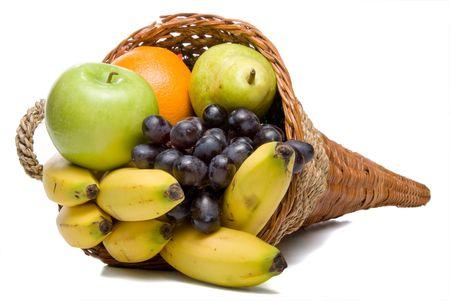 A cornucopia basket filled with delicious fresh fruit.