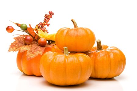 A large pile of plump and juicy holliday pumpkins. Stock Photo - 5684702