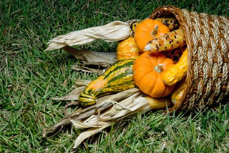 A traditional fall harvest cornucopia with fresh produce. photo