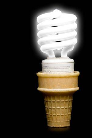 electric bulb: A Florescent Light Bulb Ice Cream Cone