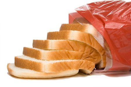bolsa de pan: Una rebanada de pan blanco en una bolsa.