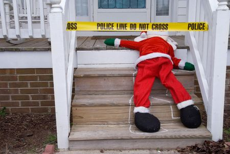 crime: The body of Santa Claus at a crime scene.