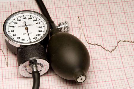 ipertensione: Un Sphygmonanometer sulla cima di una lettura di EKG.